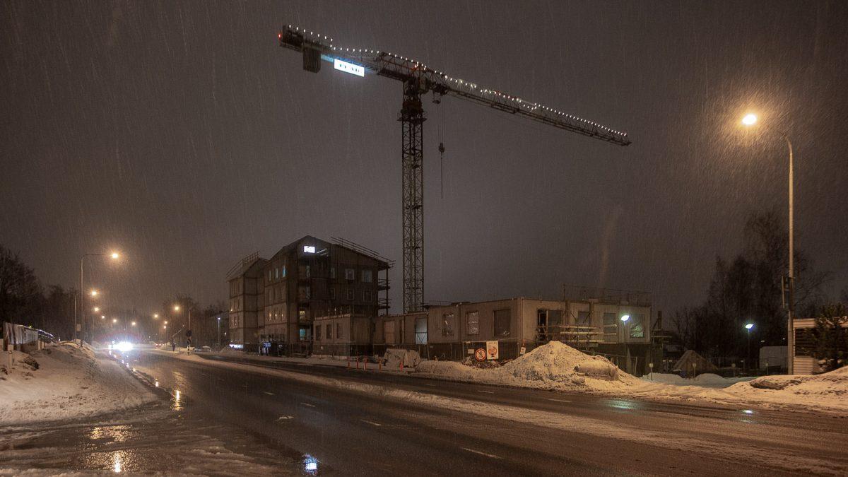 Messukylän Lissu kerrostalot rakenteilla vuoden 2019 helmikuussa.