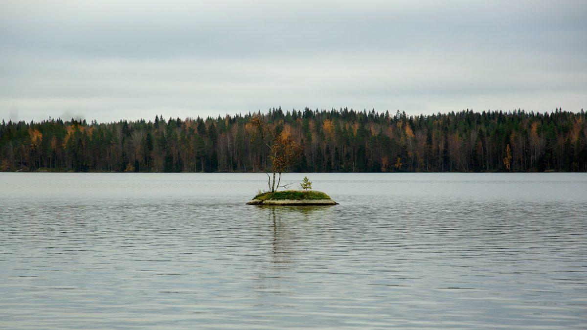 Syysretki Pukala 2021 - Yksinäinen keskellä järveä.